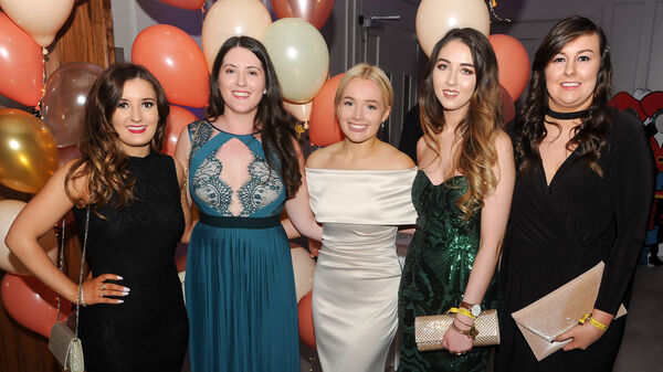 Sophie Ward, Cobh, Jennifer Kilcoyne, Model Farm Road, Ailish Sullivan, New York, Ellen Murphy, Glanmire and Alison Bradley, Carrigaline, enjoying the UCC accounting and finance ball at the Clayton Hotel, Silver Springs, Cork.Picture: David Keane.