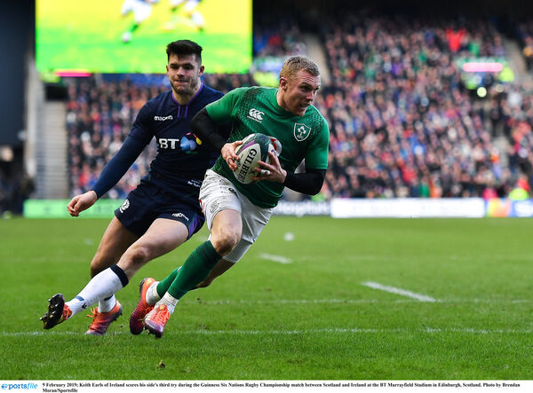 Keith Earls scores the third try. Picture: Brendan Moran/Sportsfile