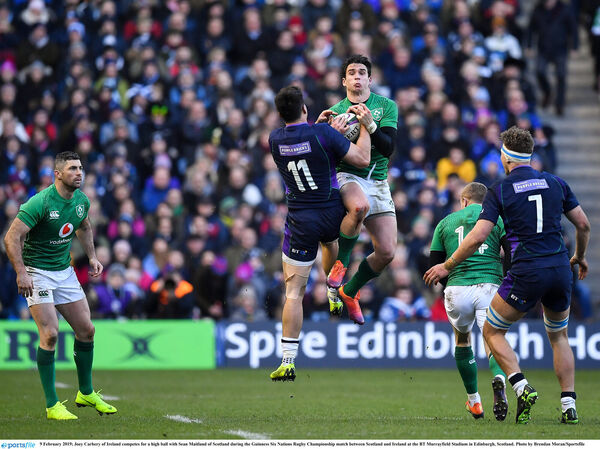 Joey Carbery competes for a high ball with Sean Maitland. Picture: Brendan Moran/Sportsfile