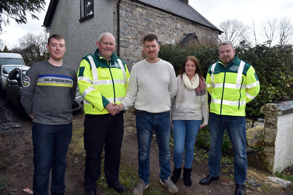 Noel Moloney, Carrigeen, Doneraile, who suffered electrocution while moving his sailing boat out of the garden, with his wife, Debbie, and son, Shane, and two DBM (Doneraile, Buttevant and Mallow) community first responders, Ger Sheahan and Jerry Barrett. 	Picture: Eddie O'Hare