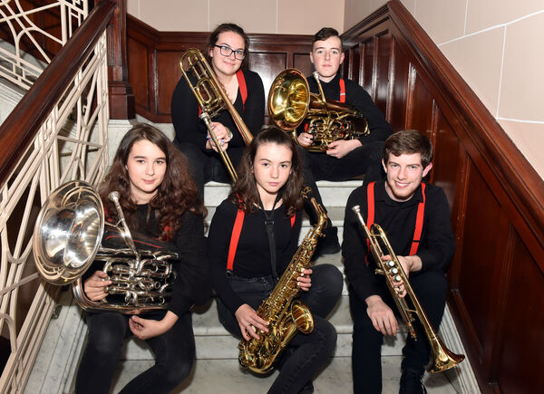 Members of Rebel Brass from left, Adahjo Duff, Caoimhe Barry ,Eimear Hallahan, Diarmaid Lucey and Shane RedmondPicture: Eddie O'Hare