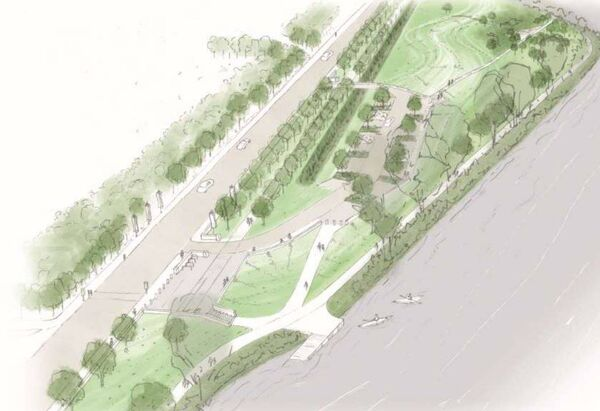 Sketch of the proposed Lee Fields car park and flood embankments as part of the modified flood defence plans for Cork city. Pic: The Paul Hogarth Company/Arup