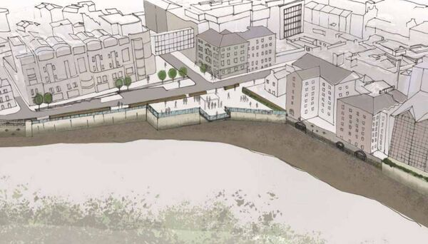 Sketch of the proposed plaza at Grenville Place by the Mercy Hospital as part of the modified flood defence plans for Cork city. Pic: The Paul Hogarth Company/Arup