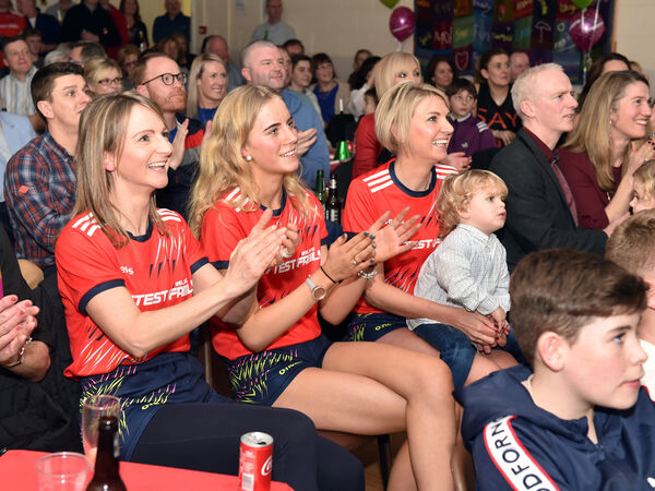 The Sheahan family during the live broadcast of Ireland's Fittest Family at Whitechurch community centre on New Years eve, from left, actress Norma Sheahan, Sheena Buckley and Paula Cogan. Picture: Eddie O'Hare