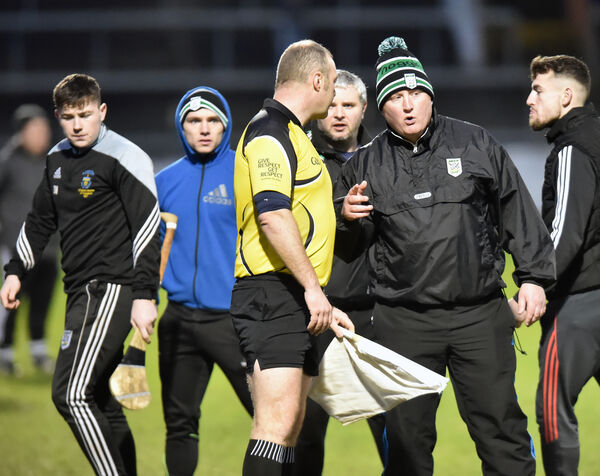 Douglas manager Willie Coveney has words with the linesman after the defeat by Midleton. Picture: Eddie O'Hare