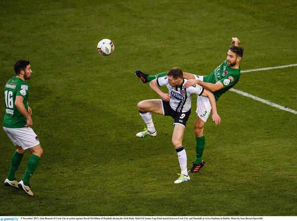 Alan Bennett battling hard in the FAI Cup final. Picture: Sam Barnes/Sportsfile