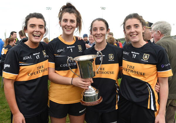 Cork Ladies Football Senior A Championship Final Replay; Mourneabbey vs West Cork at Cloughduv on Sunday 14th October 2018.The O'Sullivan sisters Doireann, Meabh, Roisin and Ciara with the cup after their win. Picture: Larry Cummins