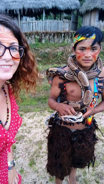 Journalist Kelly O'Brien pictured in the Amazon. Pic: Kelly O'Brien