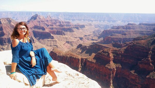 Journalist Kelly O'Brien at the Grand Canyon. Pic: Kelly O'Brien