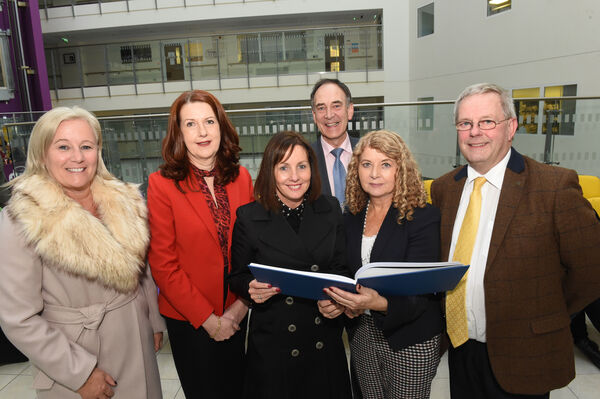 Colette Cowan, CEO, UL Hospital Group; Helen Cahalane, Director of Nursing, CUH; Noreen Spillane, Chief Operations Officer, UHL; Paul Burke, Chief Clinical Director, UHL; Ber Baker, CUH and Tony McNamara, CEO, CUH at the event. Pic; Larry Cummins