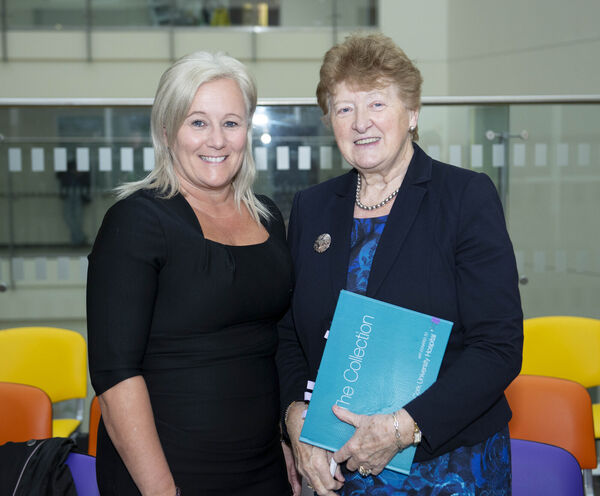 Colette Cowan CEO UL Hospitals Group and Geraldine McCarthy Chair of South/South West Hospital Group at the launch of the CUH 40th Anniversary Collection which is a collection of paintings of the Pier in Union Hall donated by Paul Finucane. Pic: Gerard McCarthy