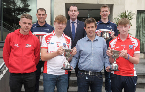 Donagh Wiseman, back right, at the awards for Cork's U15s and U16s. Picture: David Keane.