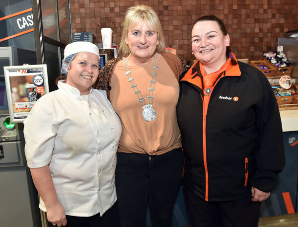 GETTING LOTS OF SUPPORT: Pam Swayne  pictured at work in Amber in Youghal with Angela McMahon and Cllr Mary Linehan-FoleyPicture: Eddie O'Hare