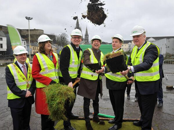 The then Taoiseach Enda Kenny turning the sod on the Cork Events Centre in February 2016.