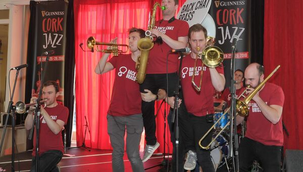 Back Chat Brass on stage in the Metropole Hotel, during the Cork Jazz Festival.Picture: David Keane.