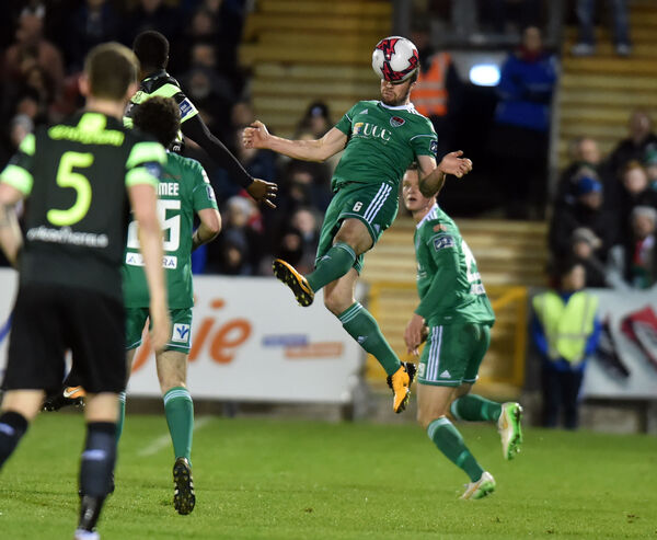 Gearóid Morrissey wins the ball from Shamrock Rovers' Dan Carr back in March. Picture: Eddie O'Hare