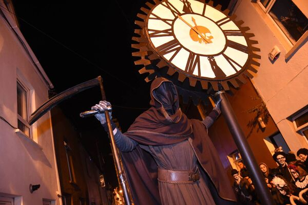 The Grim Reaper arrives with minutes to spare, for the parade, starting from Shandon Street.