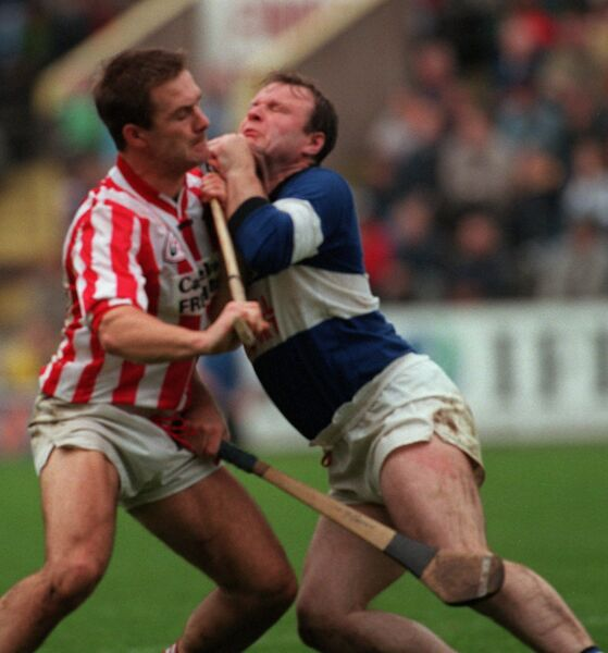 Sars' Teddy McCarthy battles Imokilly midfielder Mick Daly in 1998. Picture: Des Barry