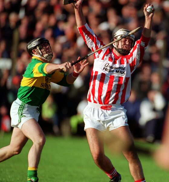 Jimmy Smiddy, Imokilly catches the ball from Ian Kelleher, Newtown, in 1999. Picture: Maurice O'Mahony