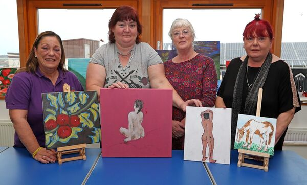 GIVING BACK: Ann Long, Shine A Light & Cork City Partnership, Mary McCarthy, Artist from The Glen, Liz Kavanagh, ABLES Art Tutor and Fiona Long, ABLES Cork ETB, with some of the art work that will be on sale on November 22