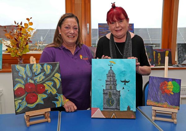 A LANDMARK: Ann Long, Shine A Light & Cork City Partnership and Fiona Long, ABLES Cork ETB, with more artwork to feature in the fundraiser.