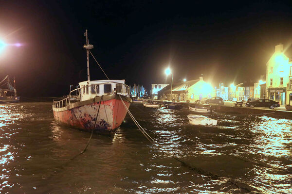An angry high tide pounded Youghal's quayside last night.	Picture: John Hennessy