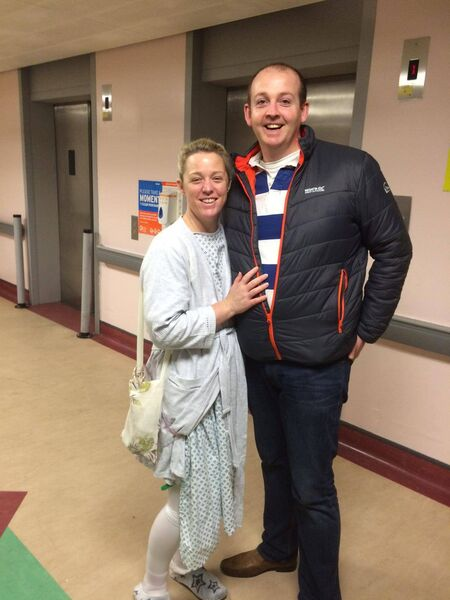AFTER THE OP: Ten days after the ball, Mandy had a six inch tumour removed. She is pictured here with partner Ronan.