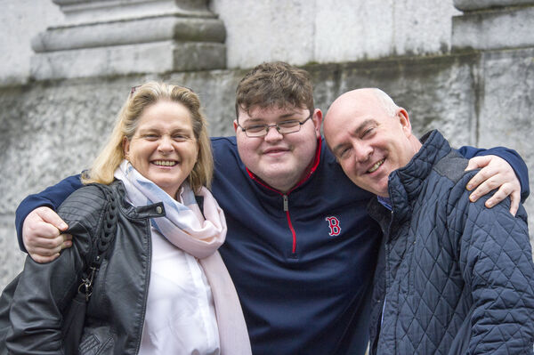 Aaron McMahon from Shanagarry, Co Cork pictured with parents Gail and Paul McMahon.Pic Daragh Mc Sweeney/Provision