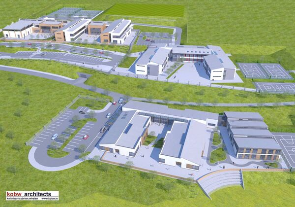 An image of how the recently-permitted three-school campus in Carrigaline will look.