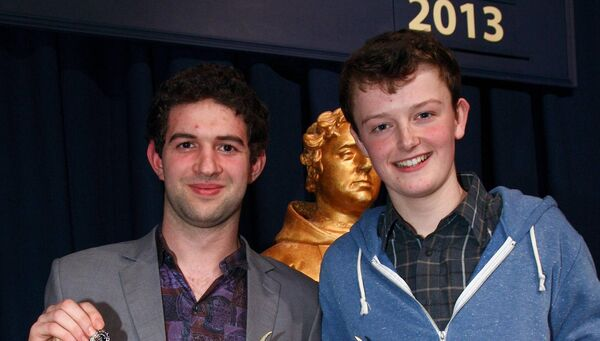 Chris Walley (right) pictured at Feis Maitiú in  2013, with Kevin Creedon following their trophy win in the Dramatic Duo Under 19 Years section. Pic: Ger Bonus