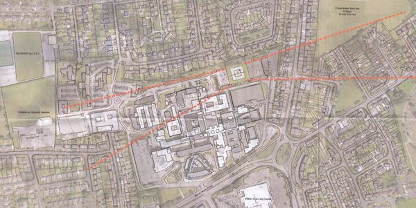 Map showing the planned flight path for helicopters landing at the planned helipad at the Cork University Hospital.
