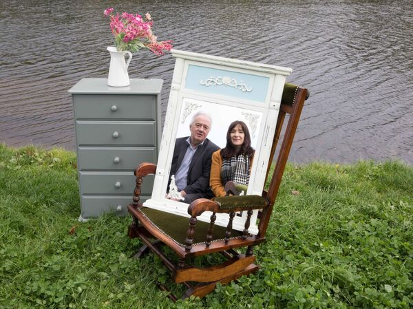 Ted O'Leary, Environment Directorate, Cork County Council and Julie Crowley, Project Co-ordinator, SMILE Resource Exchange with upcycled furniture from Duhallow Furniture Revamp and The Front Porch, Macroom launching Reuse Republic.Pic: Darragh Kane