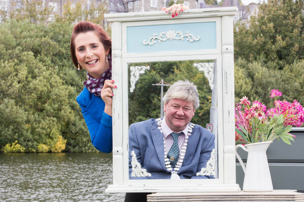 Mayor of Cork County Cllr. Patrick Gerard Murphy and Katherine Corkery, Project Co-ordinator, SMILE Resource Exchange with upcycled furniture from Duhallow Furniture Revamp and The Front Porch, Macroom launching Reuse Republic. Pic: Darragh Kane