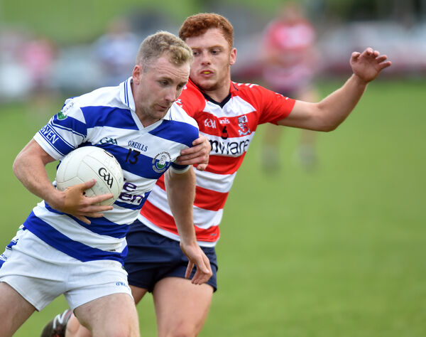 Castlehaven's Michael Hurley takes on CIT's Niall Donohue. Picture: Eddie O'Hare