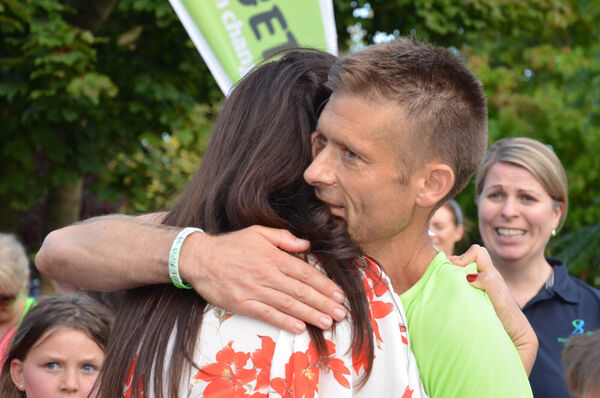 Alex O'Shea from Ballineen, gets a welcome hug from his wife Audrey after completing 32 marathons - one in each county - over the last 16 days in aid of the Irish Guide Dogs for the Blind. Picture: Howard Crowdy