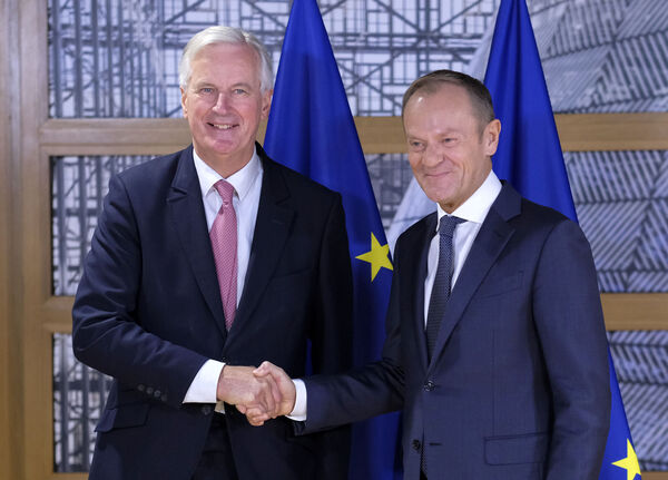 EU chief Brexit negotiator Michel Barnier with European Council President Donald Tusk prior their talks at the European Council headquarters in Brussels today. Pic: Olivier Hoslet