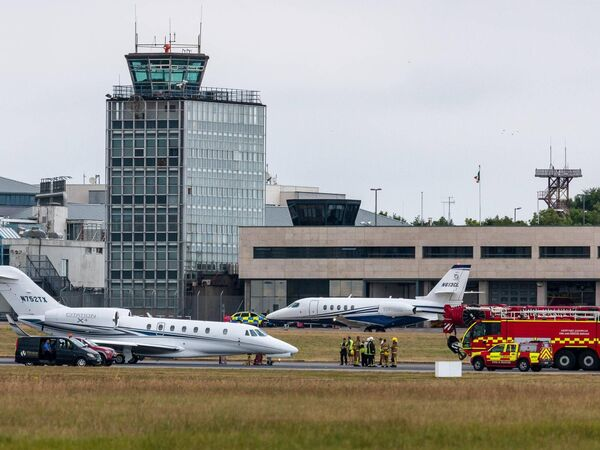 An executive Cessna 750 jet burst a nose wheel on take-off at Cork Airport, blocking the main runway which had to be closed until a crane could remove the aircraft. Picture: David Creedon / Anzenbergerr