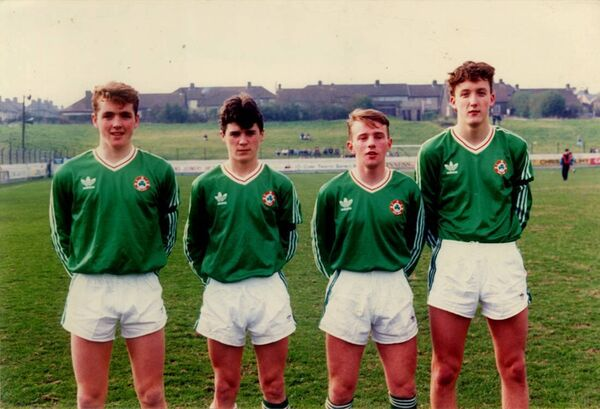 Leesiders Paul McCarthy, Roy Keane, Alan O'Sullivan and Len Downey prior to an U16 international.