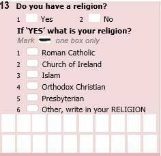 One of the new questions on religion being trialled in Cork through a sample census of 450 homes.