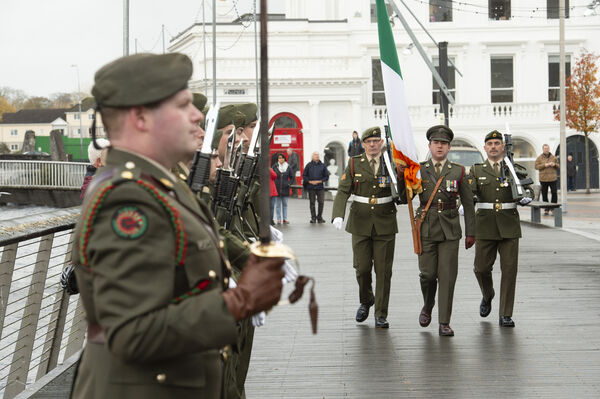 Flag officer Capt. Paul Finnigan, Sft. Delaney and Sgt. McGahern of 1st cavalry squadron, Collins Barracks marching to the Cenotaph on the South Mall, Cork, during a civil cermony to mark Armistice Day and the centenary of the end of WW1. Picture Dan Linehan
