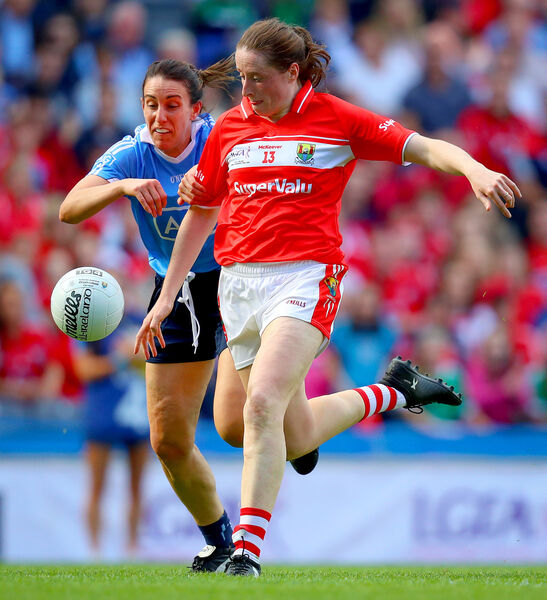 Aine O'Sullivan with Siobhan McGrath of Dublin. Picture: INPHO/Oisin Keniry