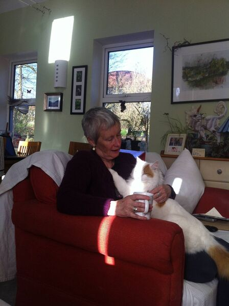 Sue Russell with her cat Scrappy.