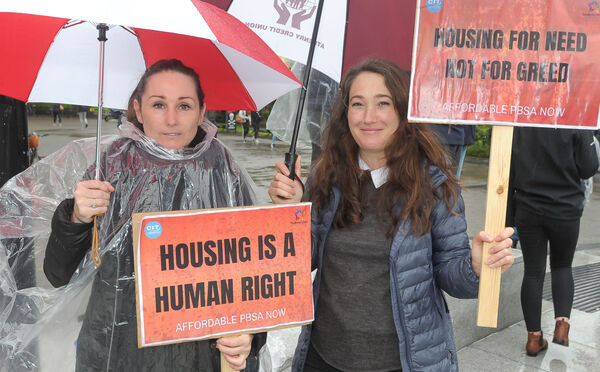 Rochelle Doyle, UCC and Mahelia Wolfertz, CIT, supporting the UCC and CIT students' protest in relation to accommodation prices at the amphitheatre in UCC. Picture: David Keane.