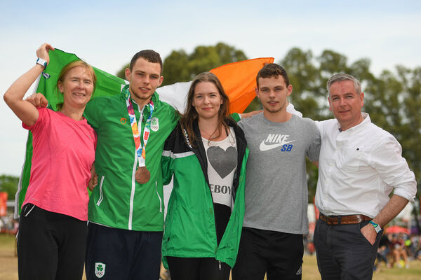 Sean McCarthy-Crean with his family, Noirin, Sinead, Chris and Terry. Picture: Eóin Noonan/Sportsfile