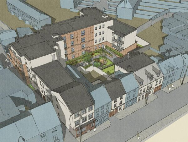 Artist impression of Cork City Council housing development on Barrack Street. Despite being approved by Cork City Council more than a year ago, the scheme has not moved ahead.