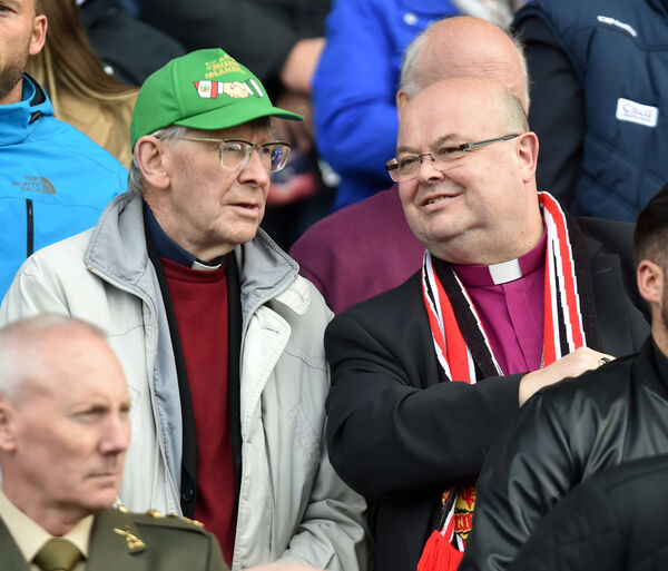 Bishop John Buckley and Bishop Paul Colton at Liam Miller tribute match between Manchester United and Celtic/ Republic of Ireland at Pairc Ui Chaoimh yesterday. Picture: Eddie O'Hare