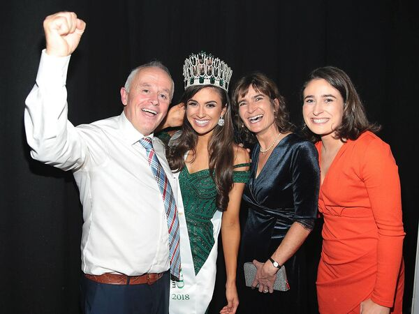 Aoife O Sullivan from Ballinadee, Kinsale,Cork who was crowned Miss Ireland 2018 pictured being congratulated by her parents Michael O Sullivan and Liz O Sullivan and sister Shona O Sullivan at Dublin's Helix Theatre. Pic Brian McEvoy