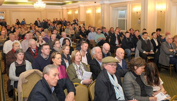 A section of the large attendance at the meeting organised by the Cork Business Association (CBA) to discuss the traffic restrictions on St Patrick's Street, at the Imperial Hotel. Picture: David Keane.