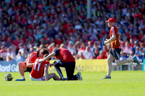 Conor Lehane down injured. Picture: INPHO/Oisin Keniry