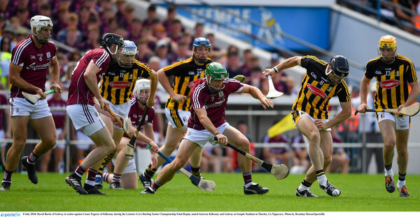 David Burke of Galway in action against Conor Fogarty of Kilkenny. Picture: Brendan Moran/Sportsfile